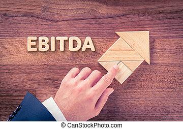 EBITDA increase - Increase EBITDA concept. Businessman plan...