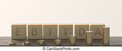 EBITDA word built with letter cubes on white background and stacked coins. 3d illustration