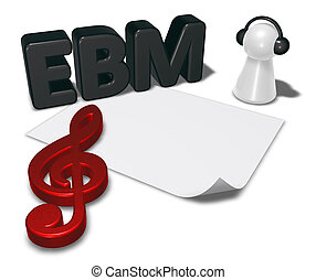 ebm tag, blank white paper sheet and pawn with headphones - 3d rendering