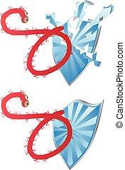 Ebola Attack - Deadly Ebola virus attacks the blue shield.
