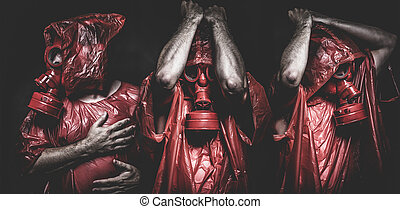 ebola, fertőzés, fogalom, ember, noha, piros, gáz álarc