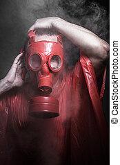ebola, gáz, fogalom, ember, piros, fertőzés, maszk