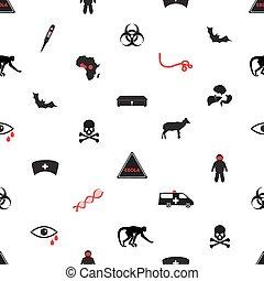 ebola, nemoc, ikona, seamless, neposkvrněný, model, eps10