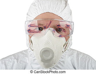 Ebola - Doctor in protective suite looking at ebola isolated...