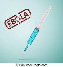 ebola - Syringe with blue liquid isolated on white...