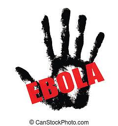 ebola, testo, stampa, mano