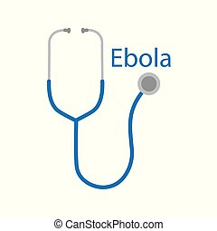 ebola text and stethoscope icon- vector illustration