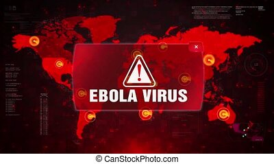 Ebola Virus Alert Warning Attack on Screen World Map Loop Motion.