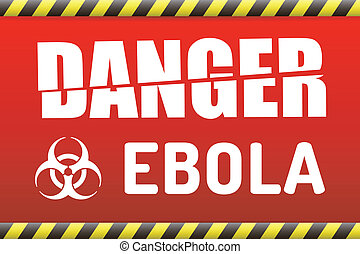 Ebola virus danger sign with reflect.