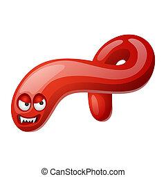 Ebola virus illustration. Little angry microbe or monster.