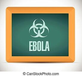 ebola, znak, na, niejaki, deska, ilustracja