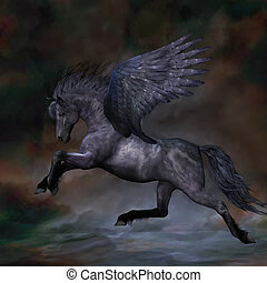 EBONY - A beautiful black Pegasus stallion flies over the...