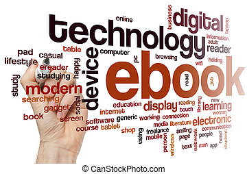 ebook, 単語, 雲, 概念