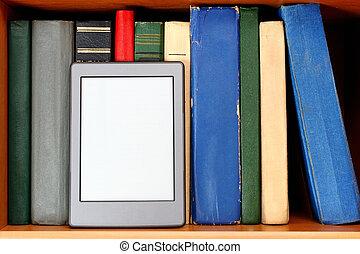 Ebook and old books on bookshelf