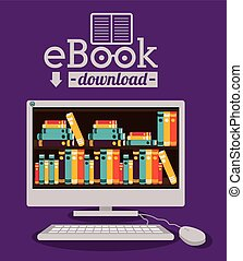eBook design over purple background, vector illustration