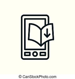 Ebook digital download icon - book and arrow