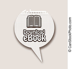 Ebook download button over black background vector ...