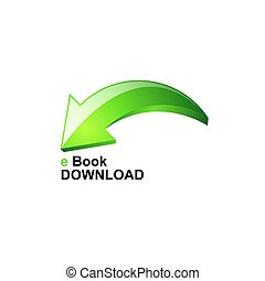Ebook download with green arrow vector icon, isolated on white background