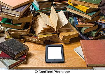 ebook, e, livros velhos, ligado, tabela