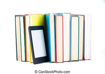 ebook, entre, papel, books., nueva tecnología, concepto