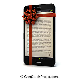 ebook gift - smartphone with a bow and ebook on the screen