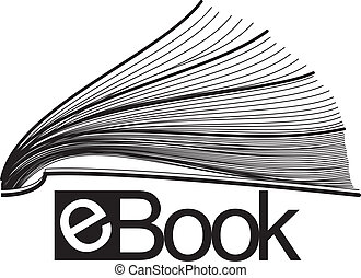 ebook, icono, mitad