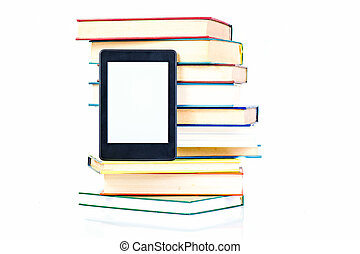 Ebook leaning paper books. New technology concept