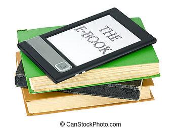 ebook, lecteur, et, traditionnel, papier, livres