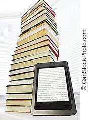 ebook, leitor, ligado, um, luz, fundo