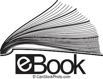 ebook, mitad, icono