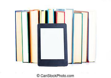 ebook, propensión, papel, books., nueva tecnología, concepto
