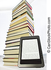 Ebook reader on a light background window