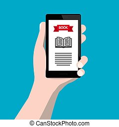 Ebook Reading - Electronic Book Device. Flat Design Vector E-book Reader in Human Hand.