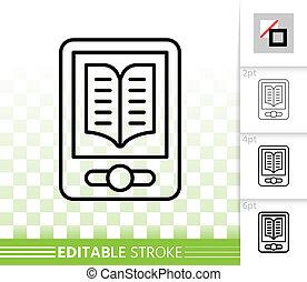 Ebook simple black line vector icon - Ebook thin line icon....