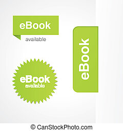 eBook tabs and stickers for online and print advertising.