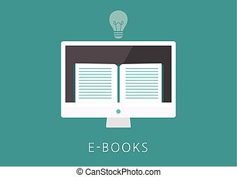 ebooks concept flat icon