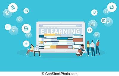 ebooks, płaski, styl, lekcje, sieć, e-oświata, wykształcenie, projektować, online, chorągiew, odległość