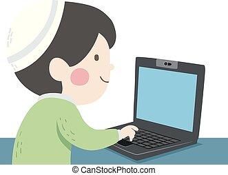 ebreo, ragazzo, laptop, illustrazione, capretto