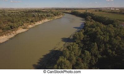 Ebro river birds eye - Aerial view of ebro river