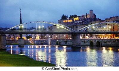 Ebro with bridge in Tortosa - Evening view of Ebro with...