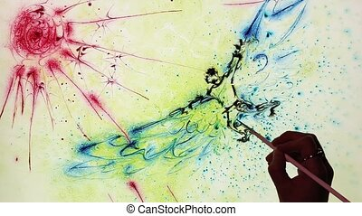 Ebru art of Icarus flying to the su - Water painting (Ebru...