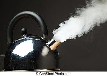 ebullición, caldera, denso, vapor