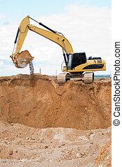 ecavator, sable, carrière, chargeur