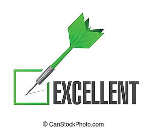 eccellente, freccetta, segno spunta, illustrazione, disegno