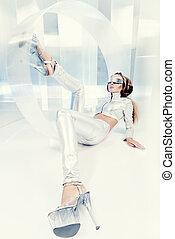 eccentric - Beautiful young woman in silver latex costume ...