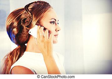 eccentric call - Futuristic young woman in white latex dress...