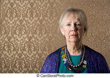 Closeup Portrait of an Eccentric Senior Lady