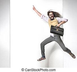Eccentric man pointng on the empty board - Eccentric man ...