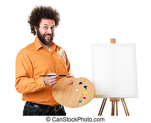 Guy in a bright, orange shirt, ready to paint, with a weird smile on his face. Self portraits in studio, isolated on white..