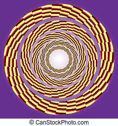 eccentric rotating circle. - vector optical art